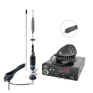 Zestaw stacji radiowych CB PNI ESCORT HP 8024, antena 12V-24V ASQ + CB PNI S75 z kablem i mocowaniem stałym