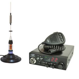 Zestaw stacji radiowych CB PNI ESCORT HP 8024 ASQ, 12-24 V, 40 kanałów, 4W + antena CB PNI ML70 z magnesem